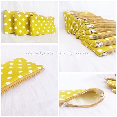 polkadot yellow pouch, souvenir nikah, vendor wedding souvenir, polkadot, hp case pouch mini